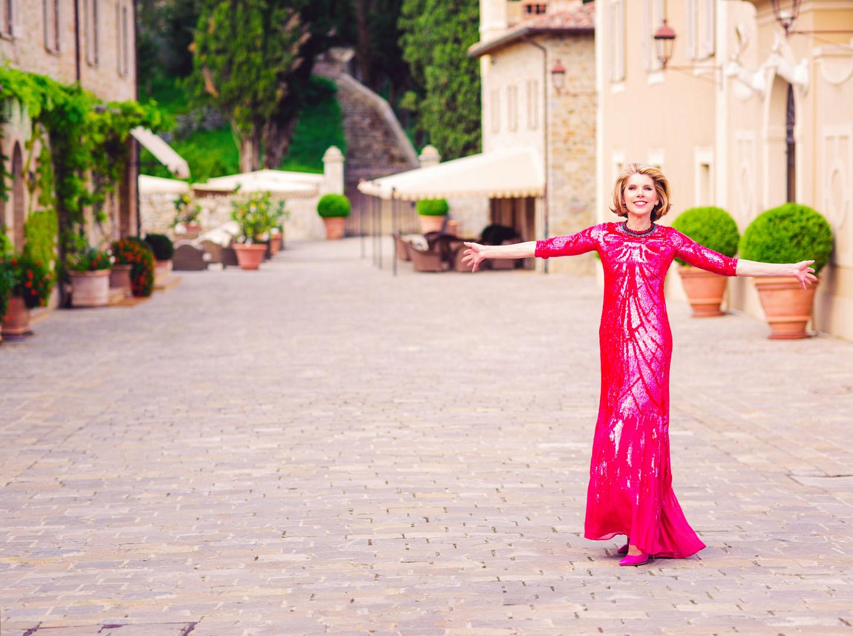 Christine Baranski is radiant in red