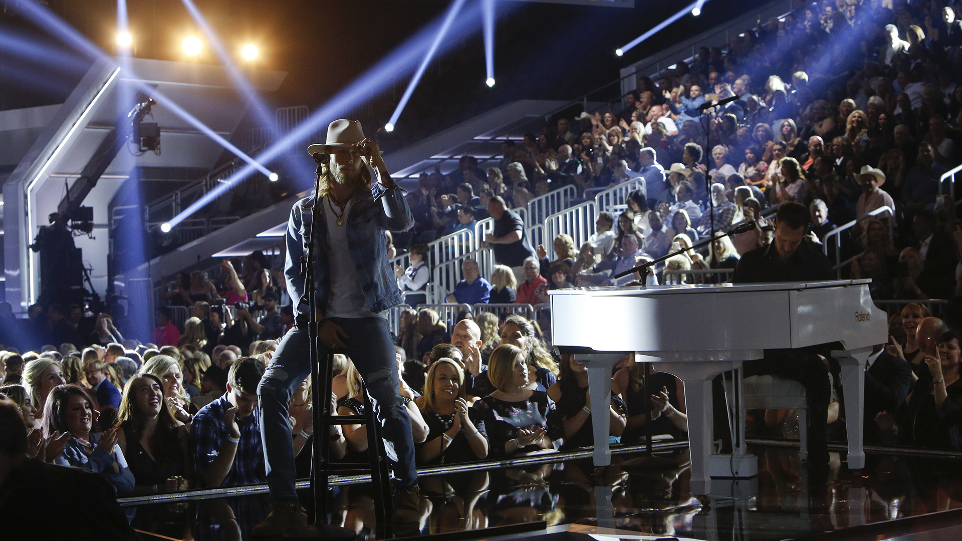 """Florida Georgia Line performs """"Cruise"""" as part of the opening medley at the 52nd ACM Awards"""