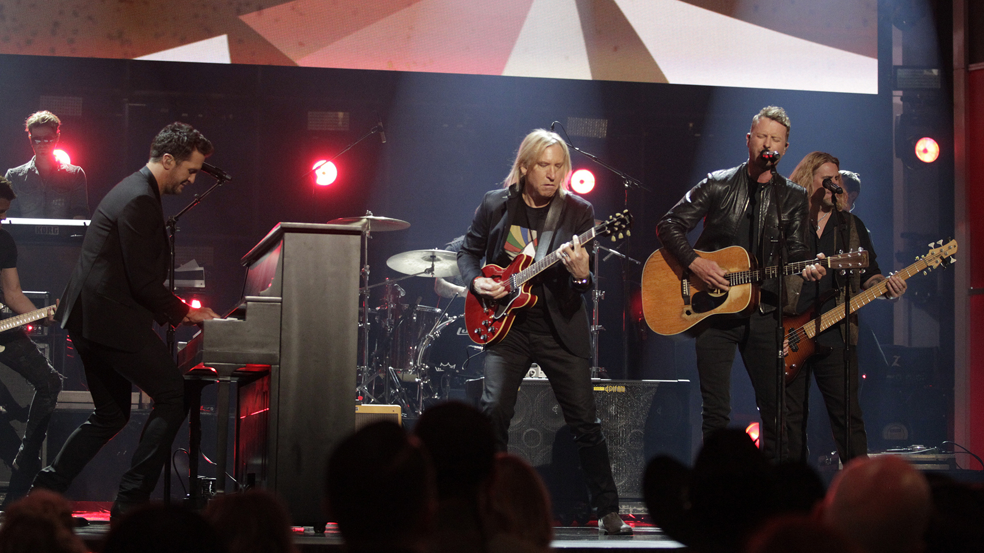 "Joe Walsh, Dierks Bentley, and Luke Bryan perform ""Johnny B. Goode"" at the 52nd ACM Awards"