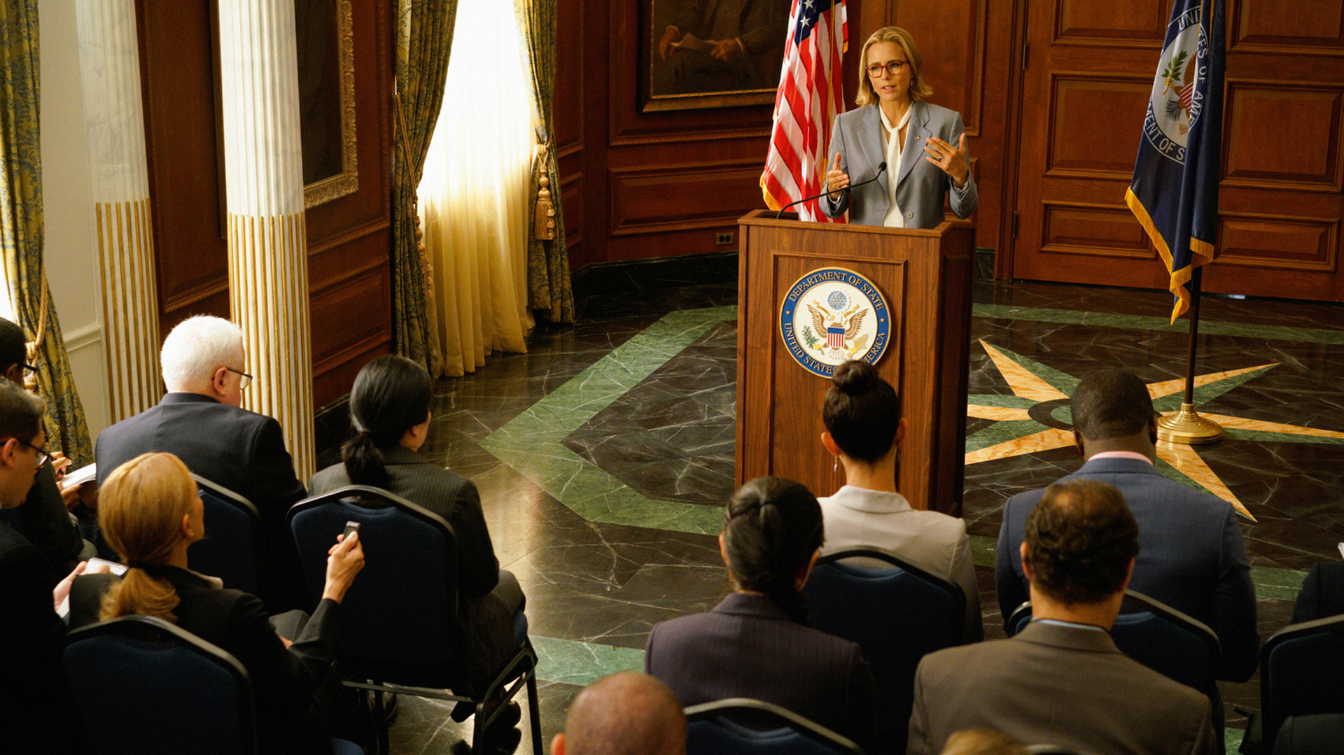 "The Madam Secretary crew shoots its Season 4 episode ""Shutdown."""