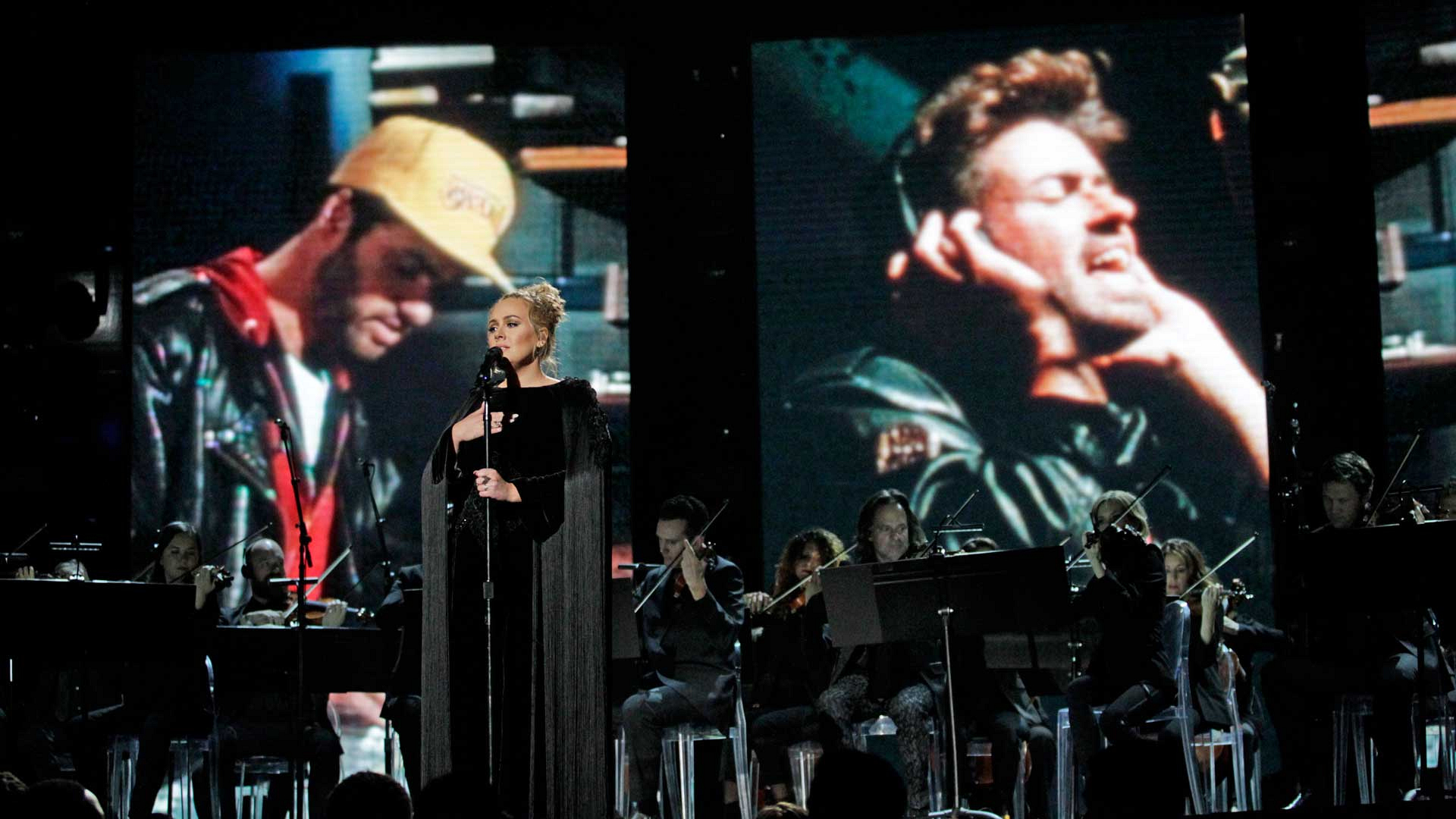 "Adele performs ""Fastlove"" as a tribute to George Michael at the 2017 GRAMMY Awards."