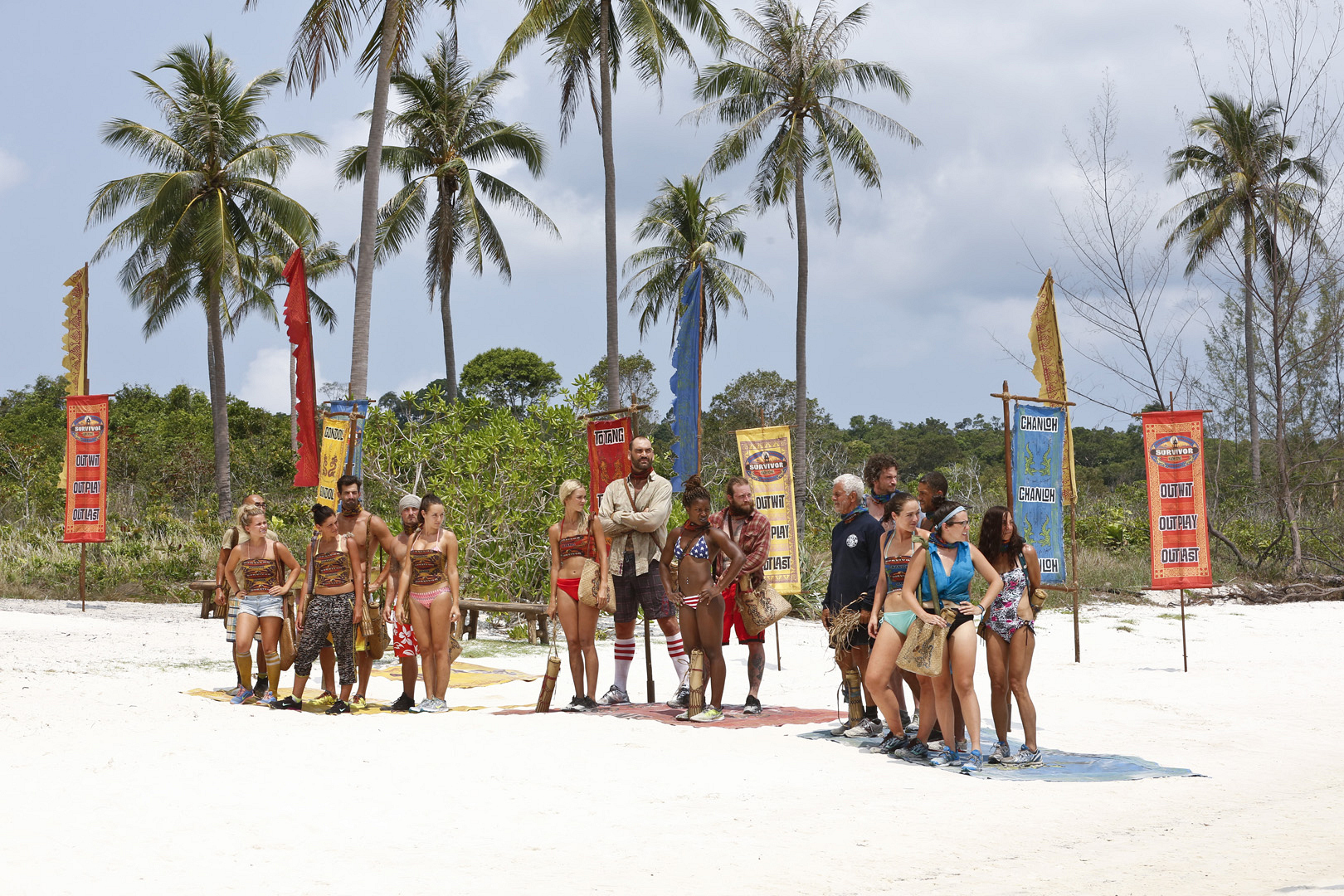 All the tribes gather to get instructions for the next Immunity Challenge.