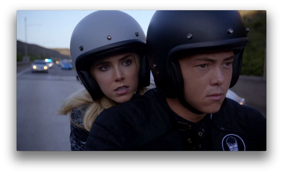 Some footage from Tyler and Aubrey's chase was filmed by a helicopter.