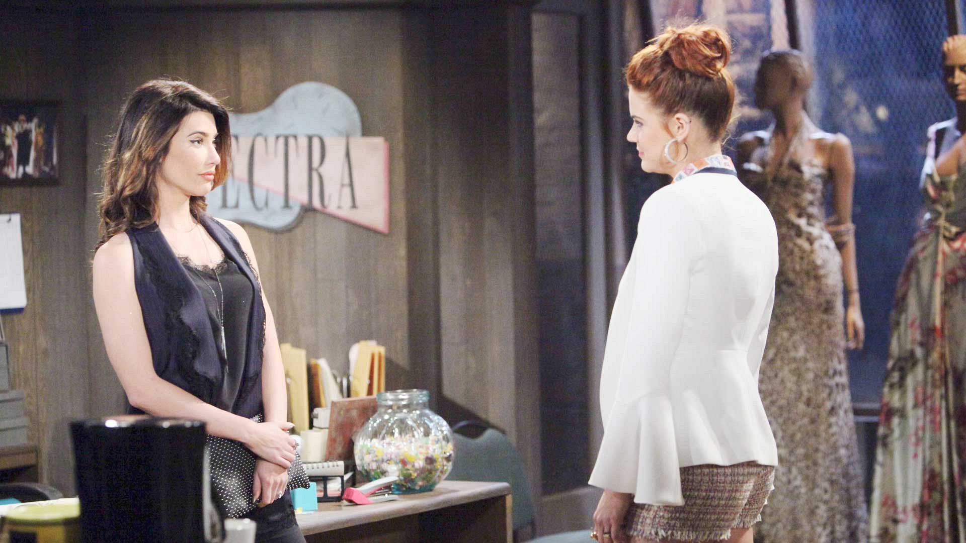 Steffy goes to confront Sally and assure her that Spectra Fashions will never be true competition for Forrester Creations.