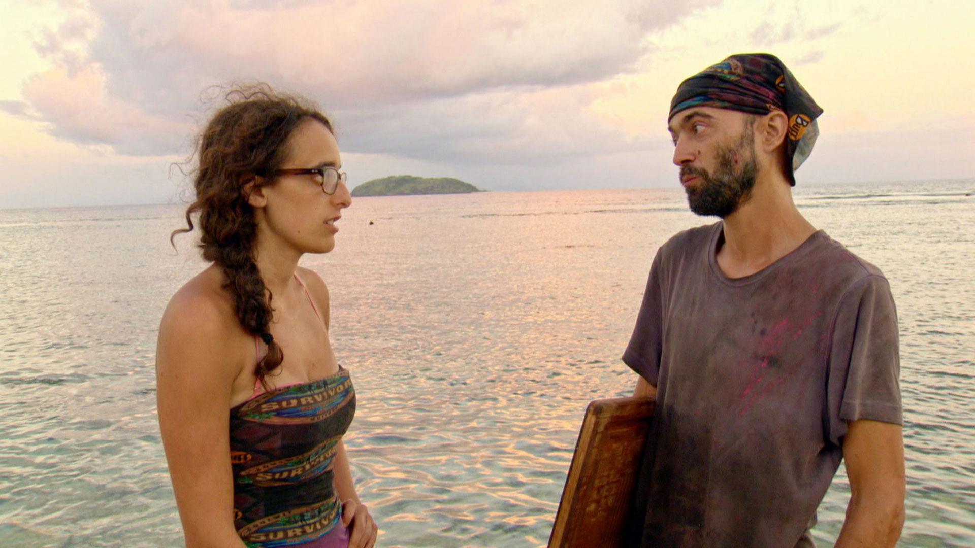 Hannah and David have a chat along the shore.