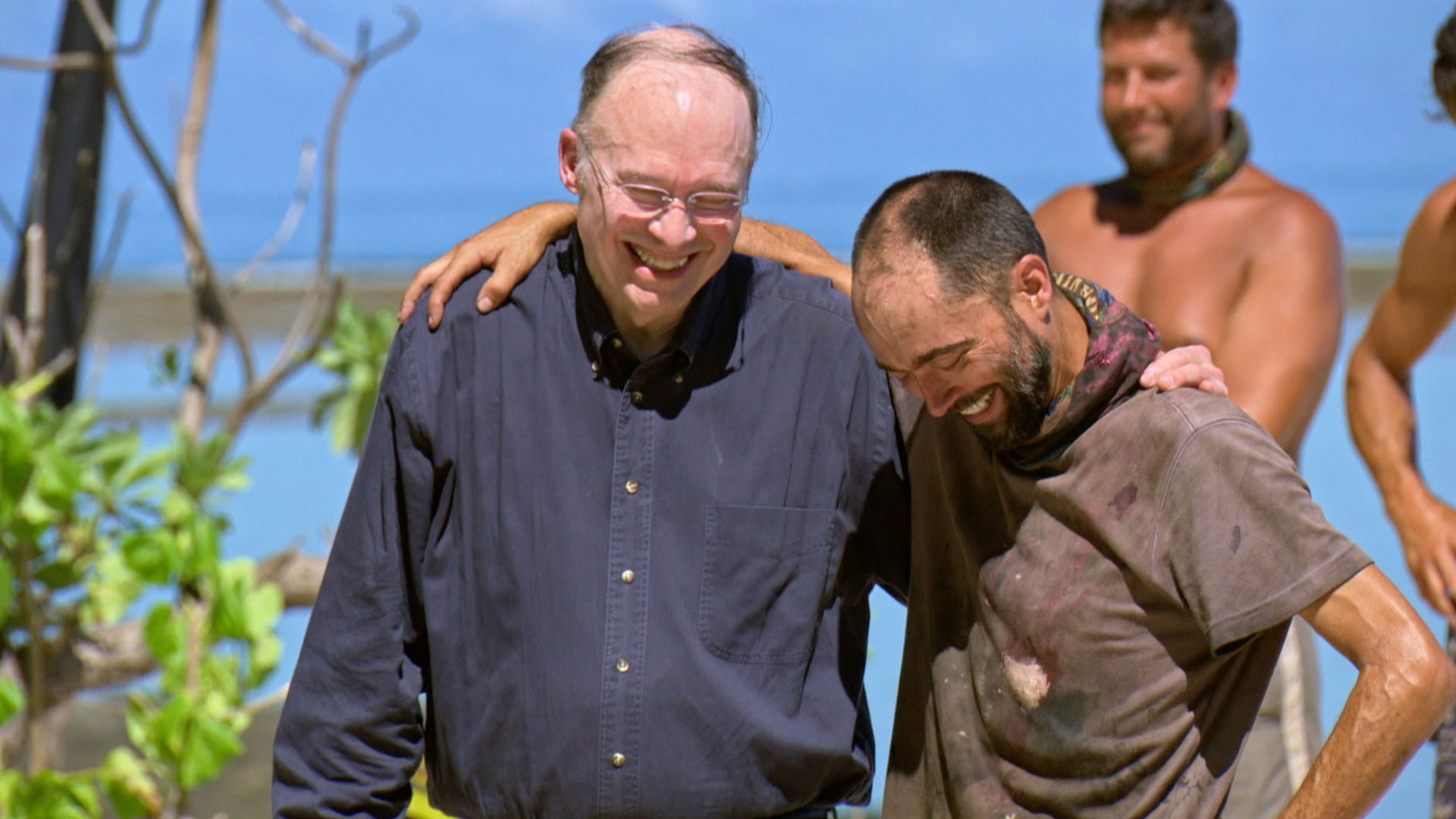 David can't help but smile when his father surprises him in Fiji.