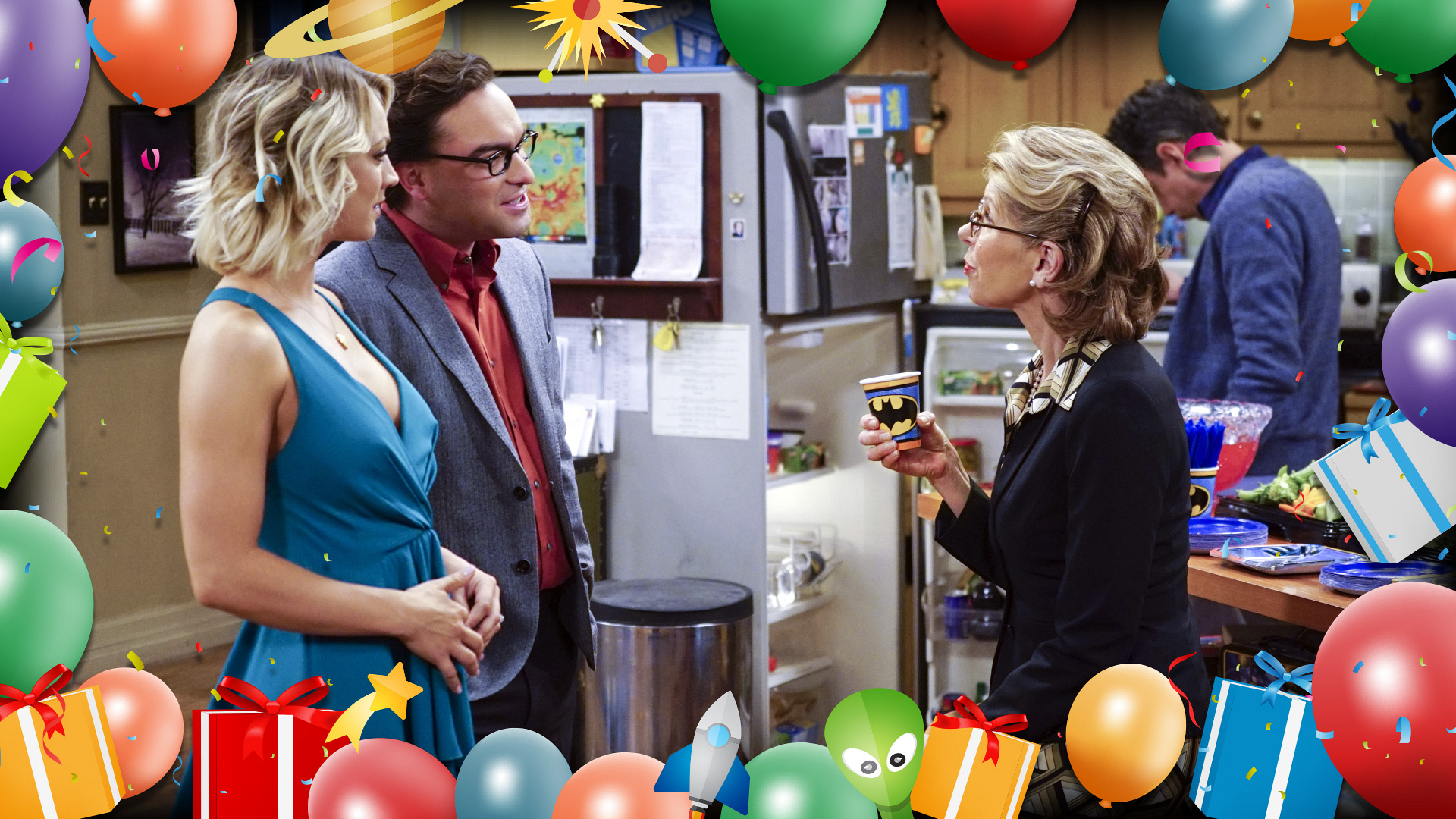 Penny and Leonard visit with Beverly Hofstadter, who RSVP'd for Sheldon's soirée.