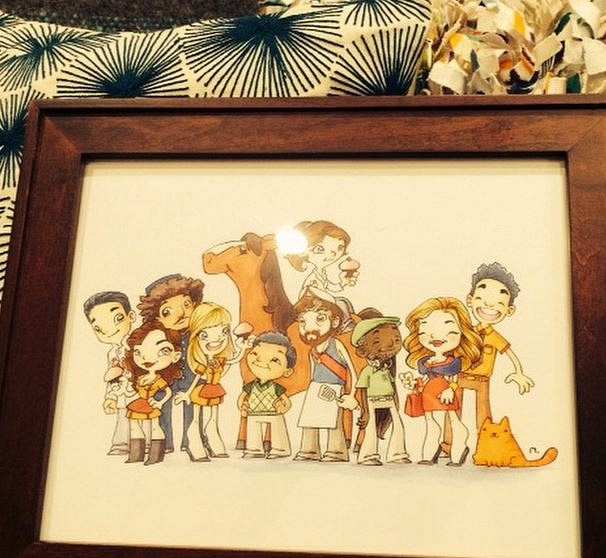 2 Broke Girls Instagram: Beth: Love this drawing Matt Moy got us all for Xmas last year. Makes me happy to see it every day in my dressing room.