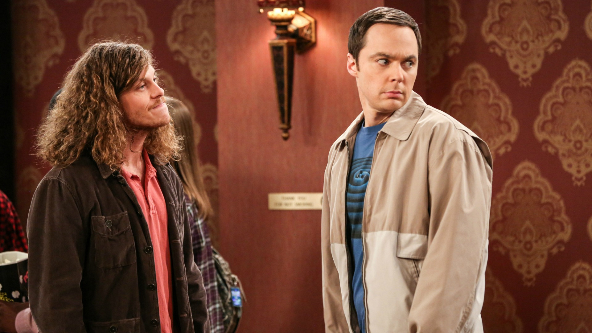 Sheldon looks for support during an argument with someone who cut the line.