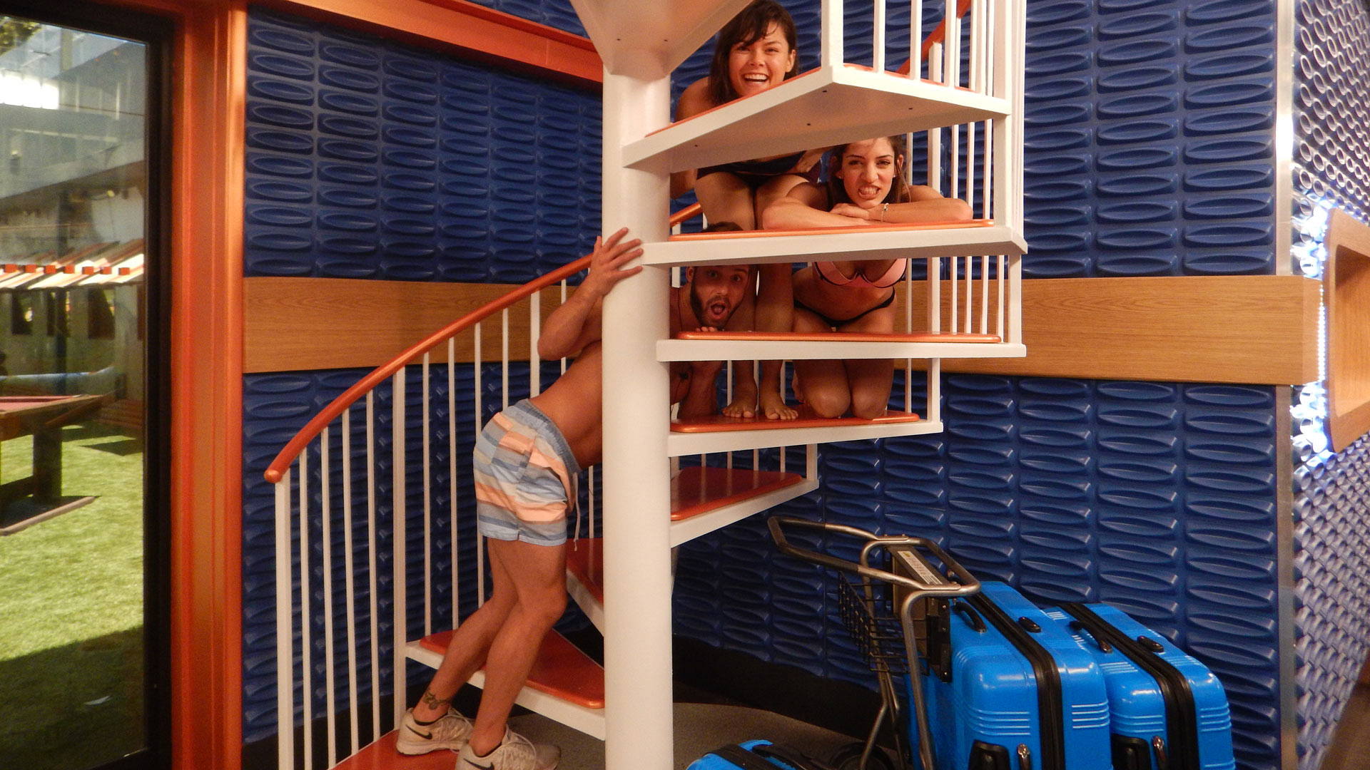 """Try not to """"stair"""" at these three silly Houseguests."""