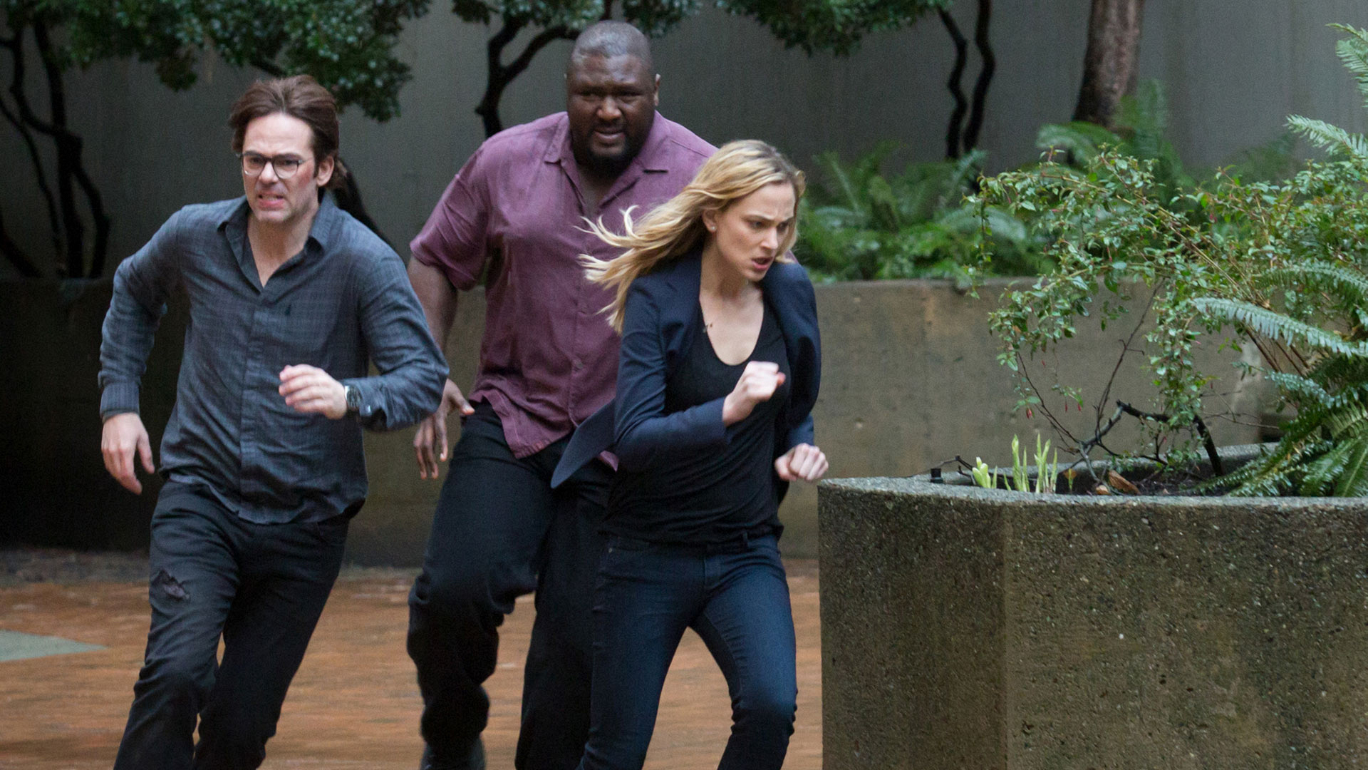 Mitch Morgan, Abraham Kenyatta, and Chloe Tousignant on the move.