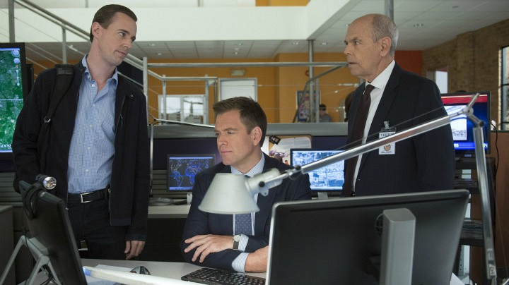 Sean Murray as Timothy McGee, Michael Weatherly as Anthony DiNozzo, and Joe Spano as FBI Special Agent Tobias Fornell