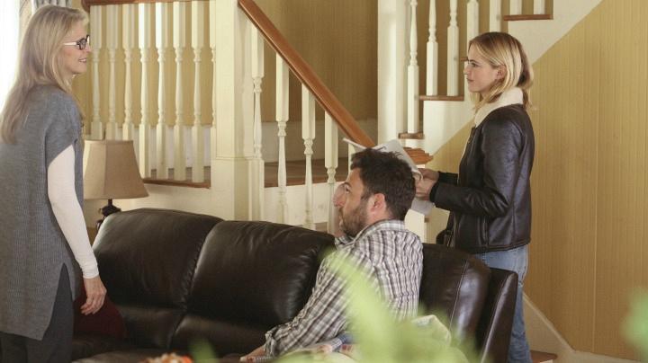 Lindsay Wagner as Barbara Bishop, Ryan Doom as George Bishop, and Emily Wickersham as Ellie Bishop