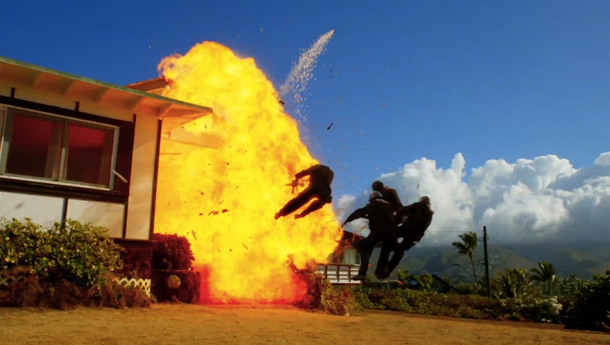 Stunt Coordinator Jeff Cadiente said the explosion that befell a local home in the episode was the biggest in the show's history. The stunt was so dangerous that personnel featured in the scene were filmed in front of a green screen and added later.