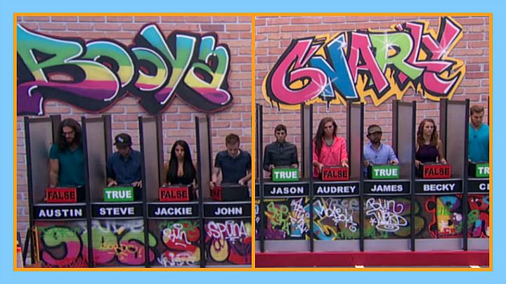 Question: What two words were spray-painted above the Houseguests during this week's HoH
