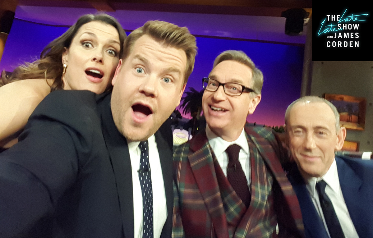 Bridget Moynahan goofing around with Paul Feig and Nicholas Hytner