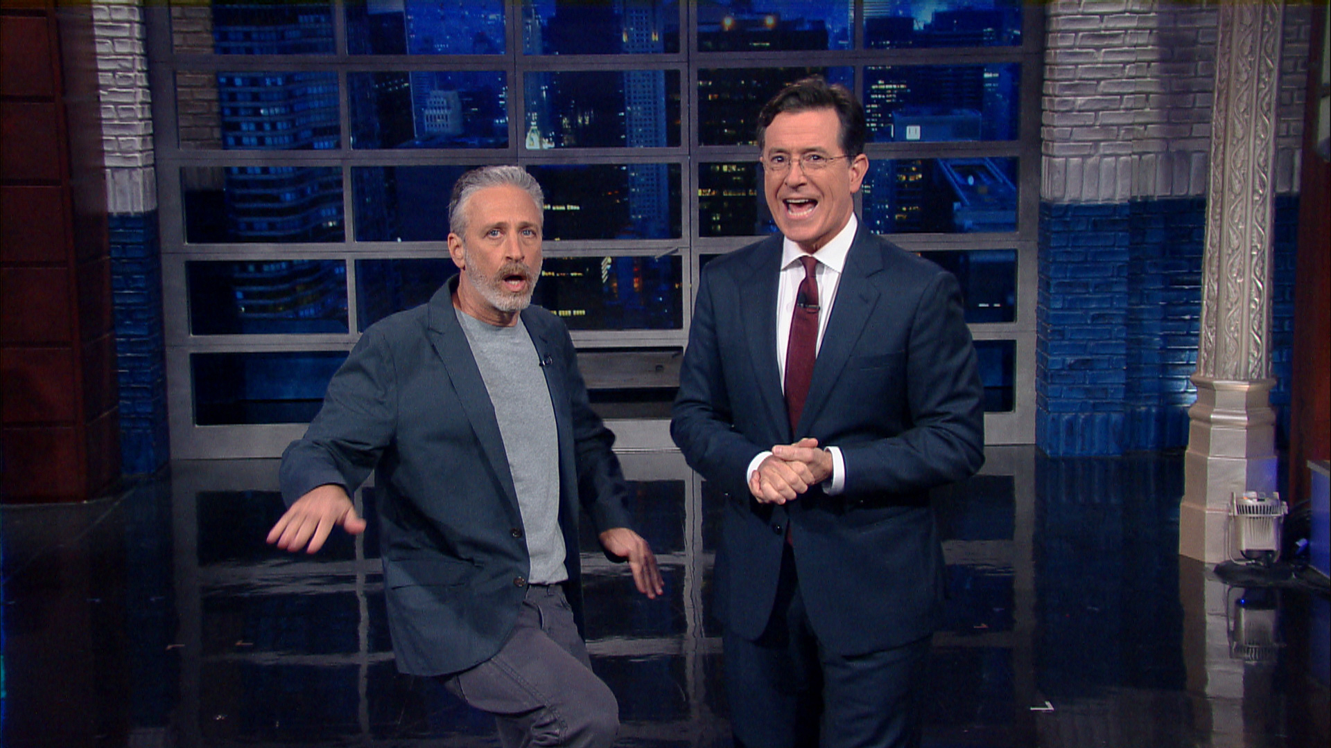 Jon Stewart made a much-anticipated visit to The Late Show.