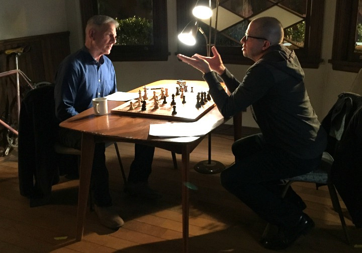 Neither Mark Harmon nor Jon Cryer are big chess players, but a quick refresher brought them up to speed.