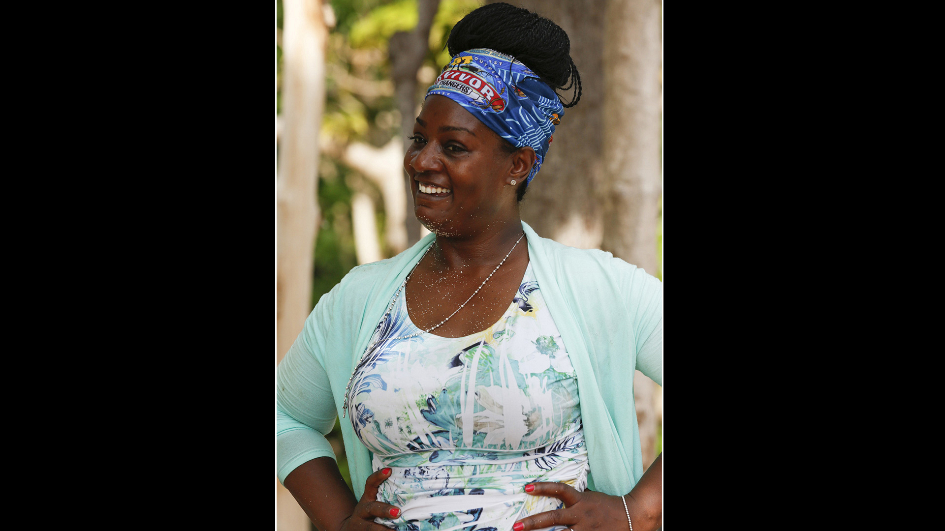 Three-time castaway Cirie Fields looks happy to play the game she loves so much.