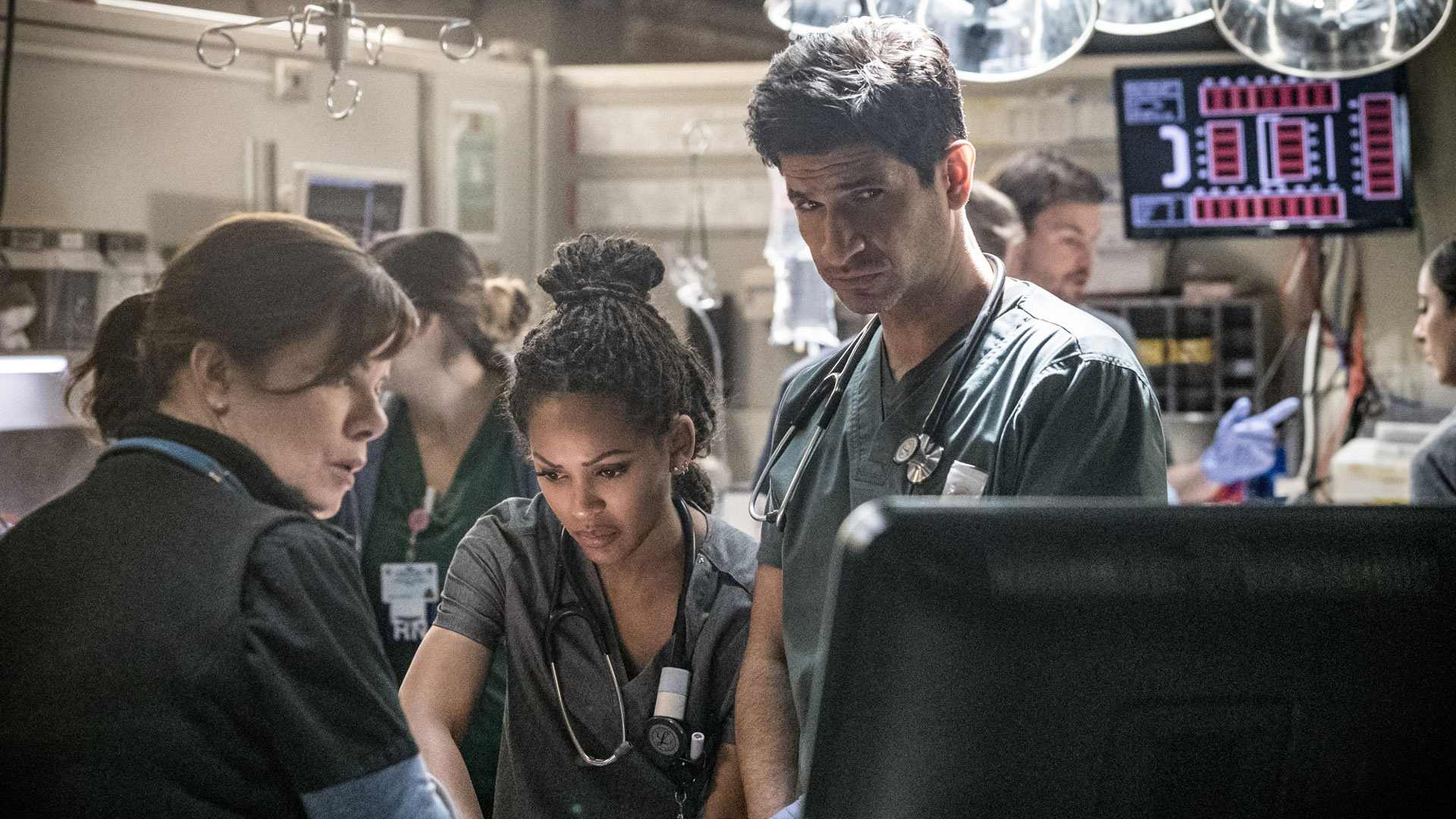 Marcia Gay Harden as Dr. Leanne Rorish, Meagan Good as Dr. Grace Adams, and Raza Jaffrey as Dr. Neal Hudson