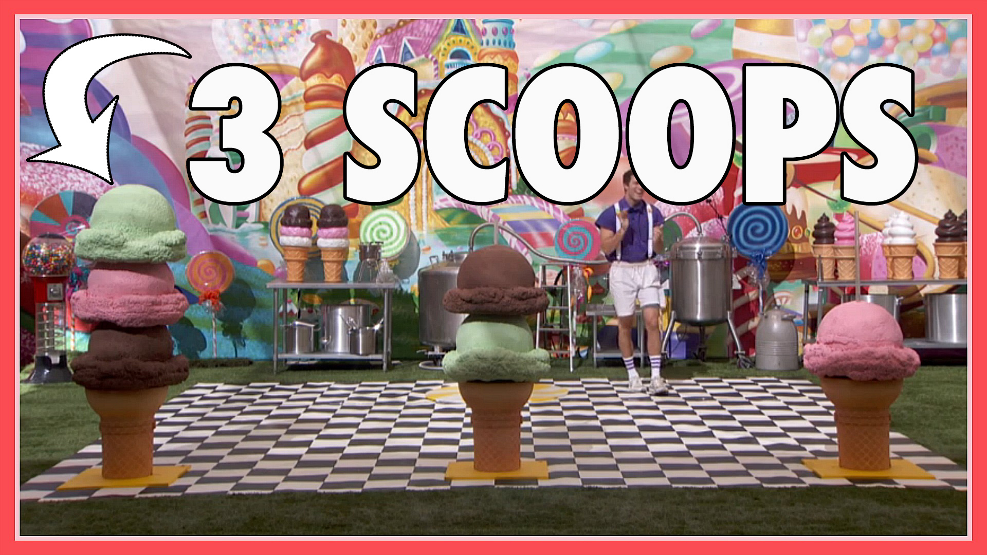 "Question: How many scoops of ice cream were on the left cone in the winning round of the ""Scooper Star"" POV?"