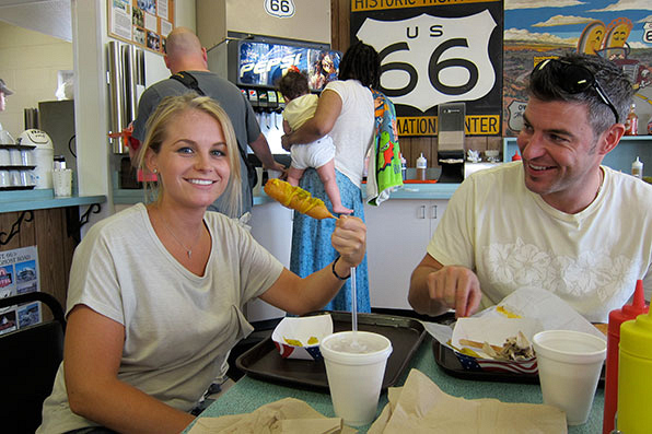 JeJo stops for corndogs along historic Route 66.