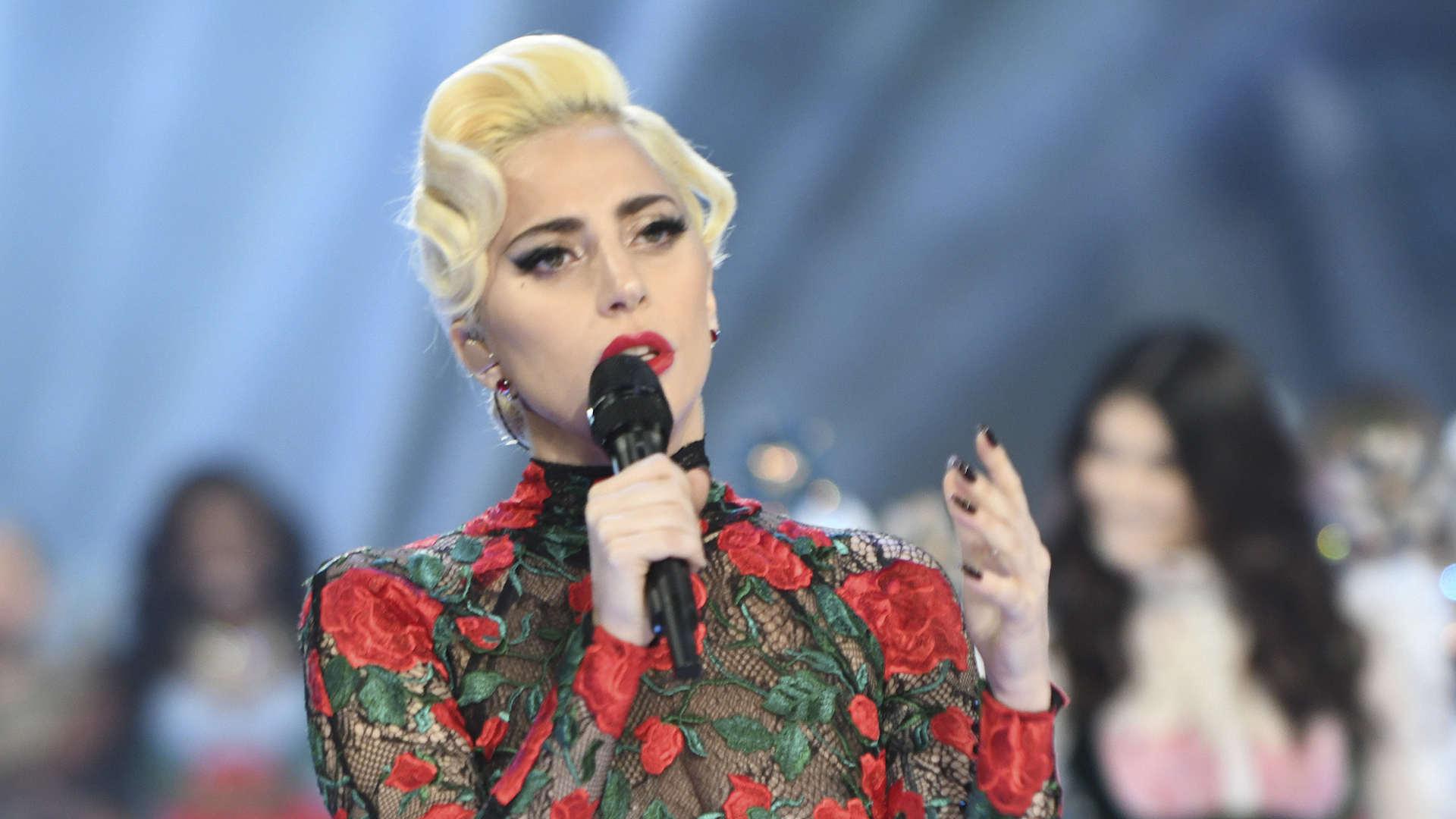 Lady Gaga clearly delivers an emotional performance during the show.