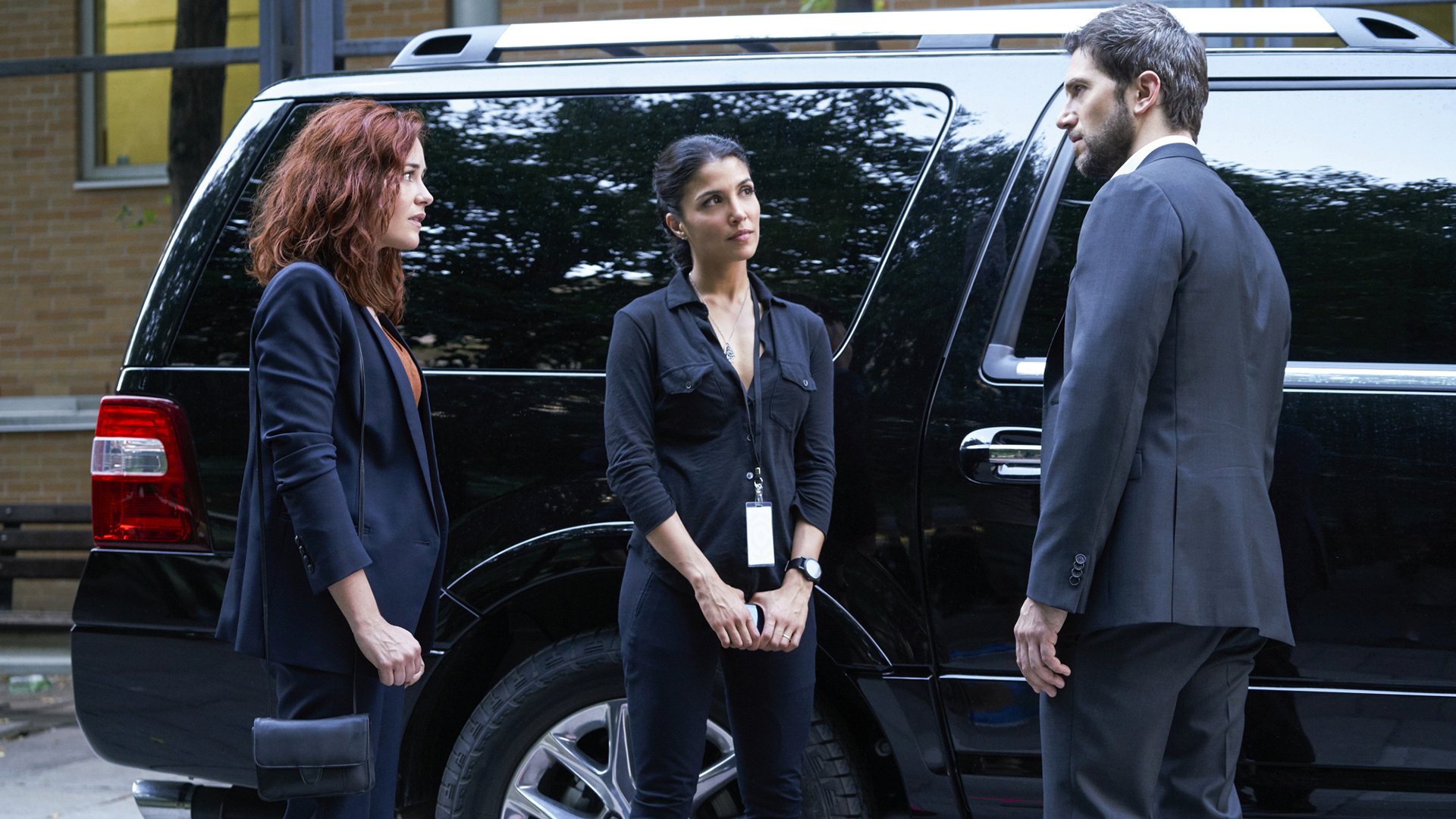 Sarah Greene as Maxine Carlson, Nazneen Contractor as Zara Hallam, and Luke Roberts as Eric Beaumont