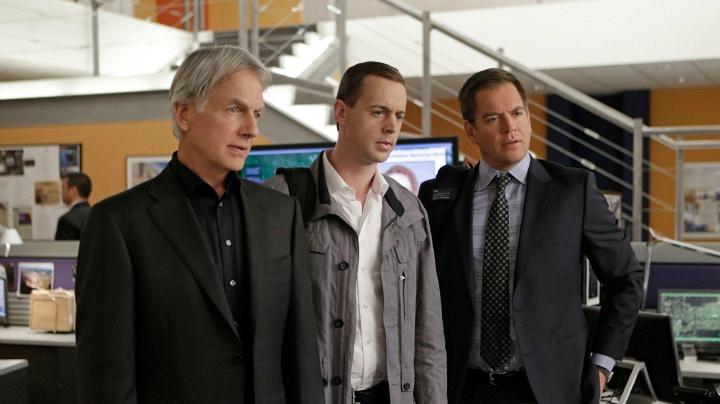 Mark Harmon as Leroy Jethro Gibbs, Sean Murray as Timothy McGee, and Michael Weatherly as Anthony DiNozzo
