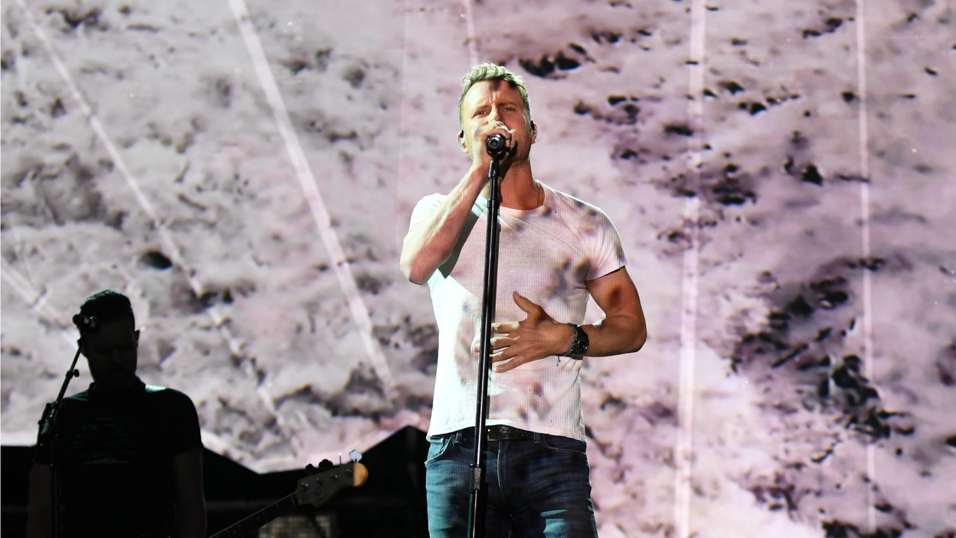 Dierks takes a practice run at his upcoming performance at the 52nd ACM Awards.