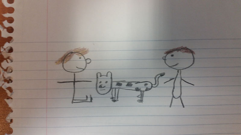 Harry lets James play with his dog, Spot.