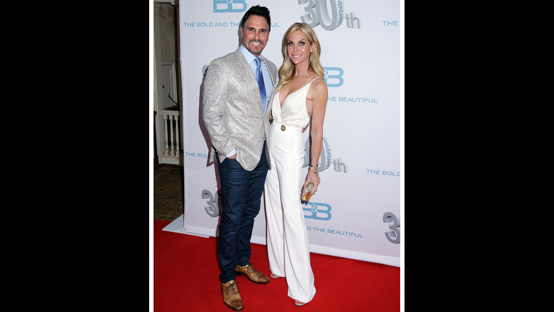 Don Diamont charms in a blue paisley suit.