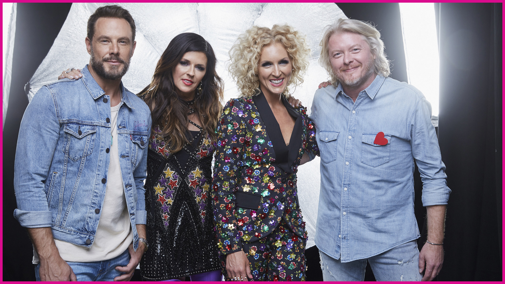 Little Big Town lights things up backstage with a combination of denim and dazzle.