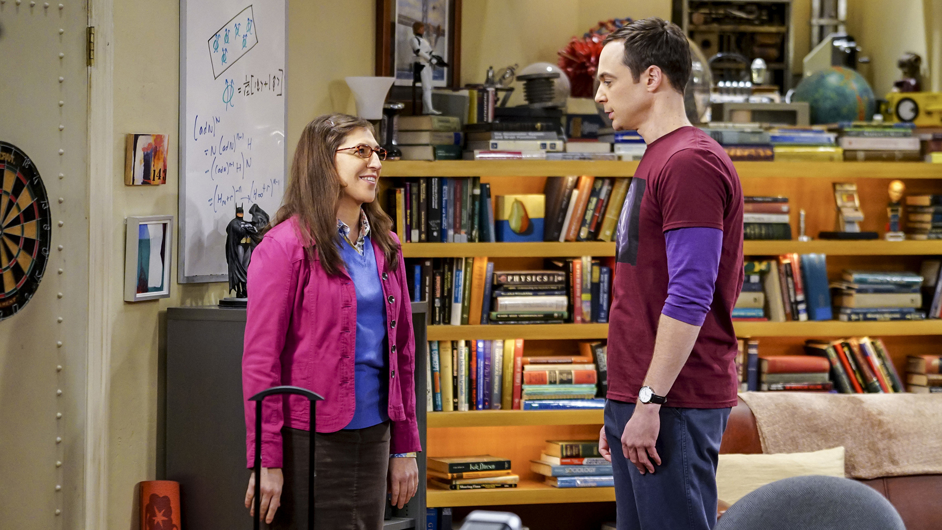 Amy and Sheldon try to say goodbye in a dignified manner...