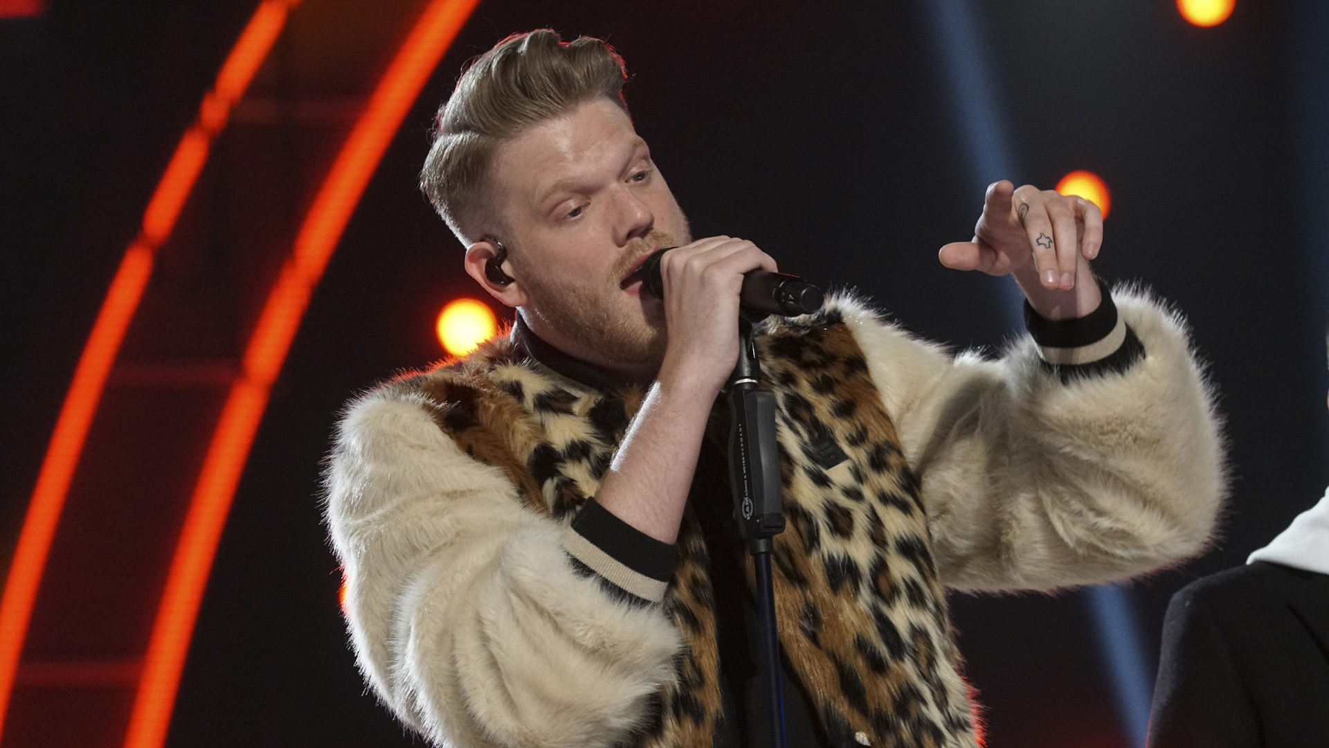 Pentatonix singer Scott Hoying looks like he's really feeling his performance.