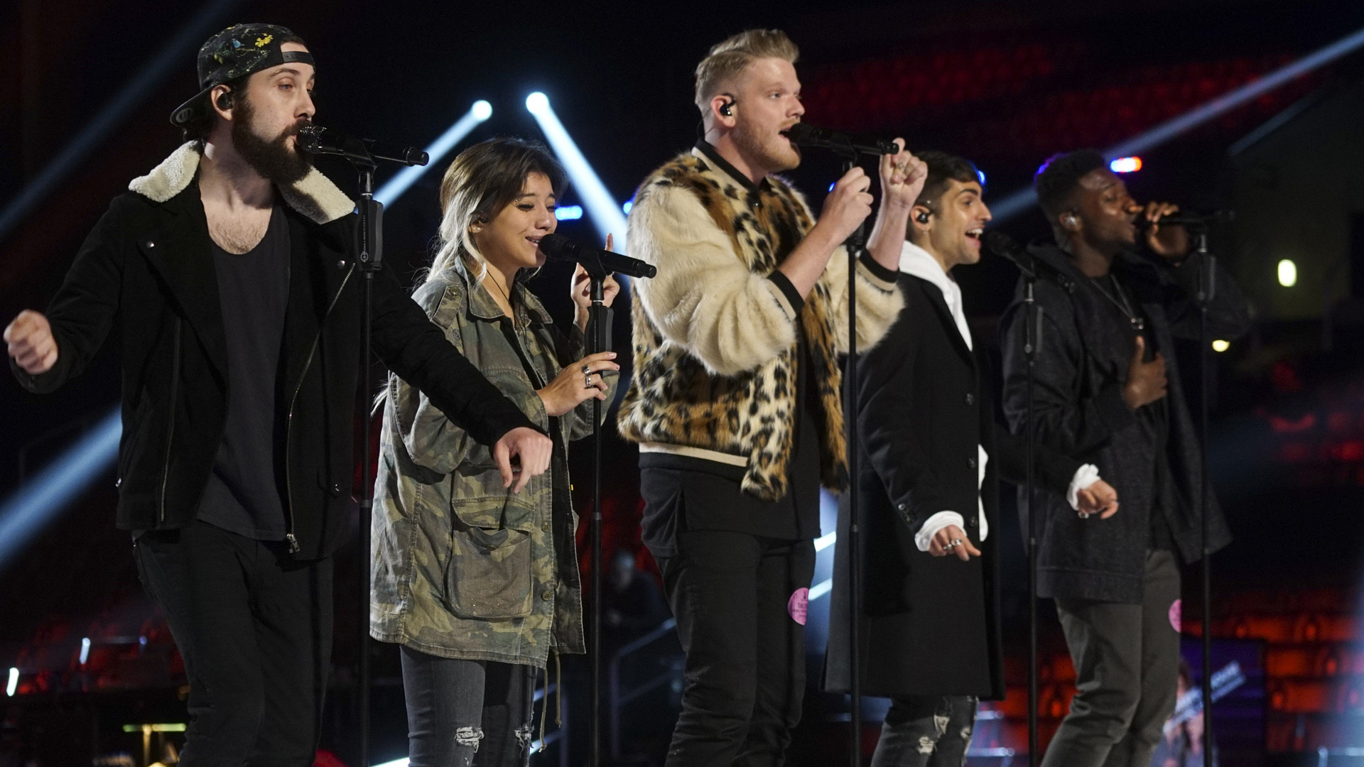 GRAMMY nominees Pentatonix hit the right notes during their rehearsal.