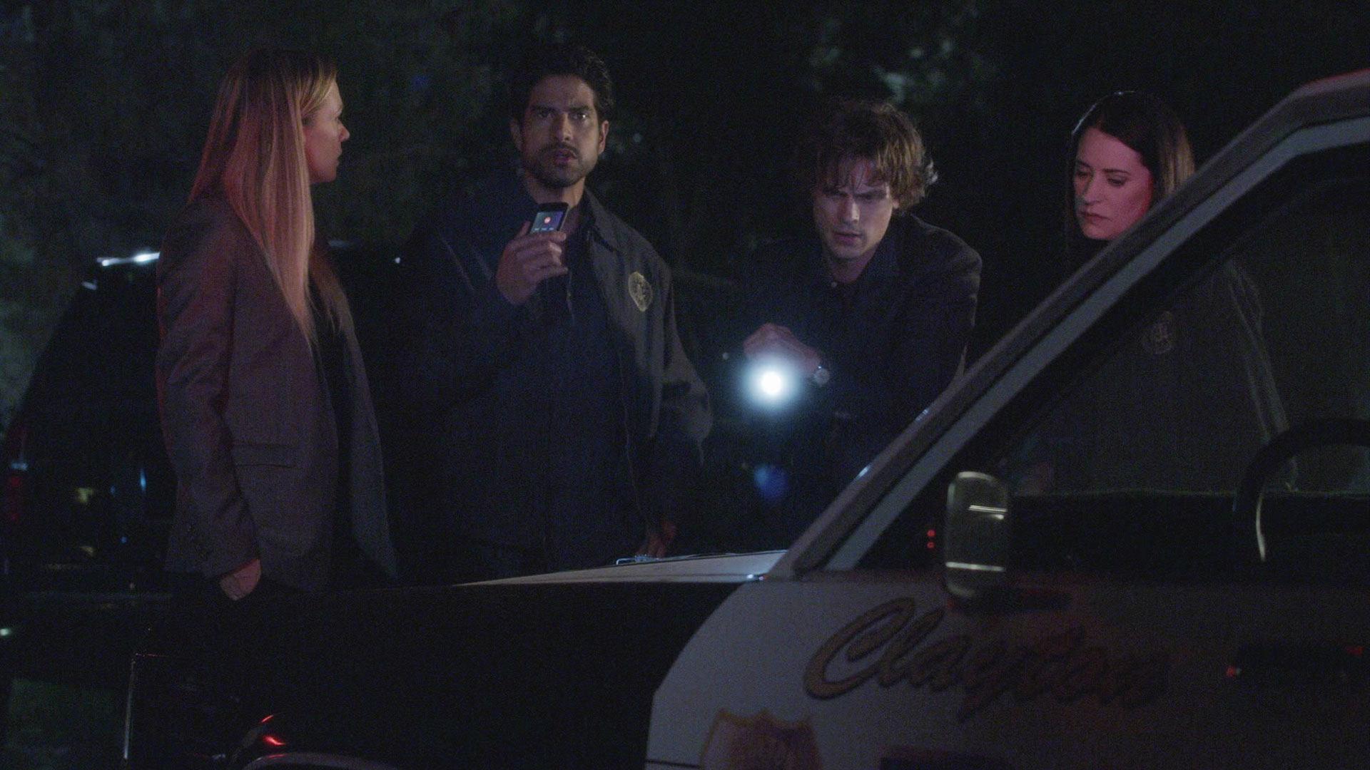 JJ, Luke, Spencer, and Emily work through the night.