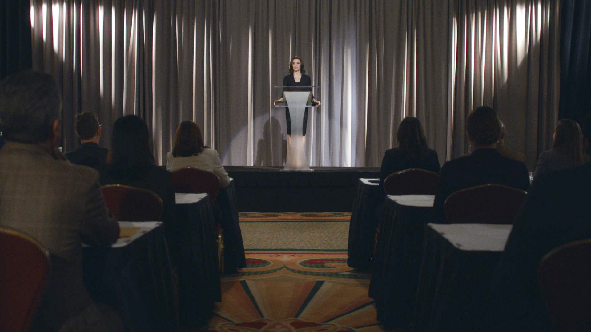 "Alicia is asked to be the keynote speaker in ""A Few Words"" S5 E14"