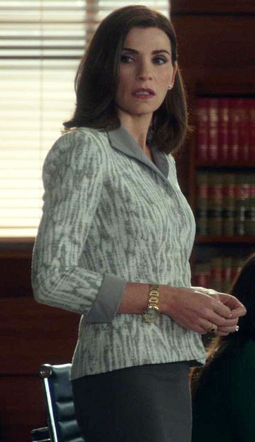 "This Lafayette 148 tan and cream ""marbled"" textured suit had to help sell a plot point in the episode."