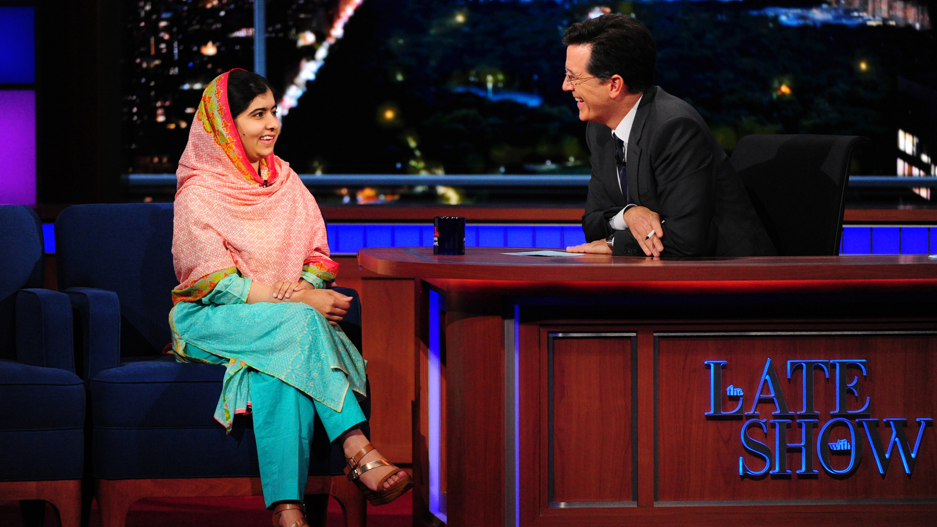 Malala Yousafzai and Stephen Colbert