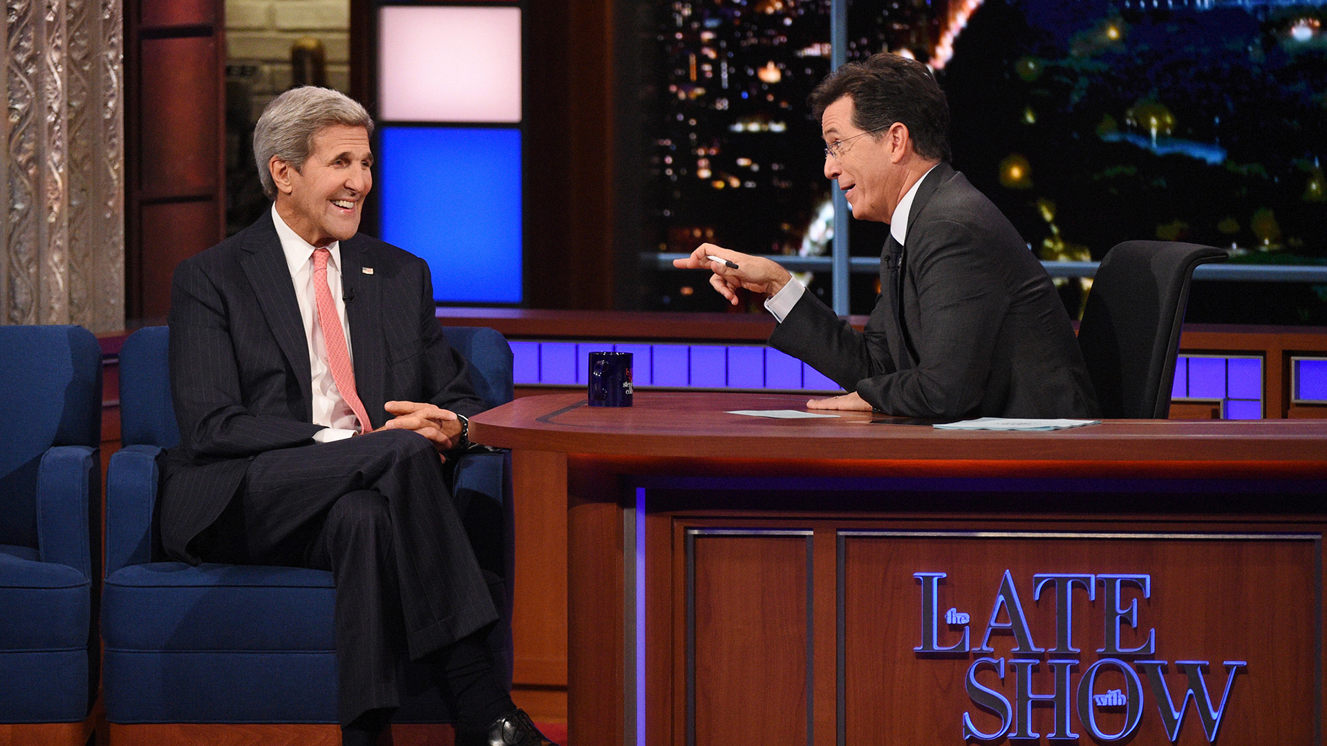 John Kerry and Stephen Colbert