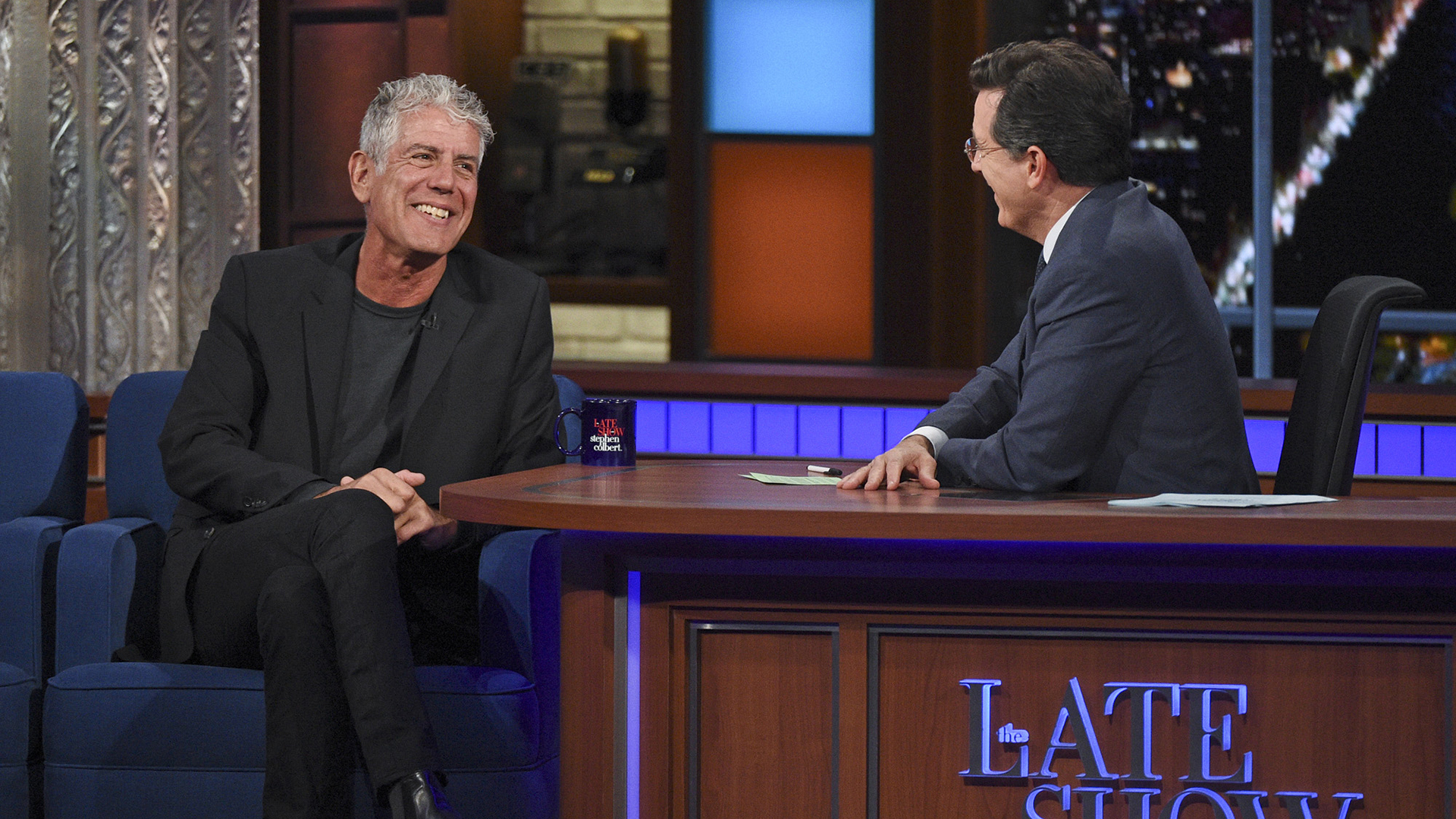 Anthony Bourdain and Stephen Colbert
