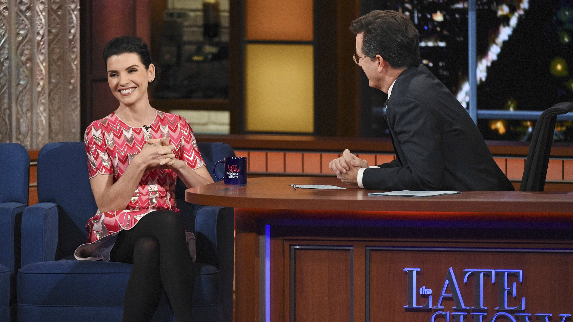 Julianna Margulies and Stephen Colbert