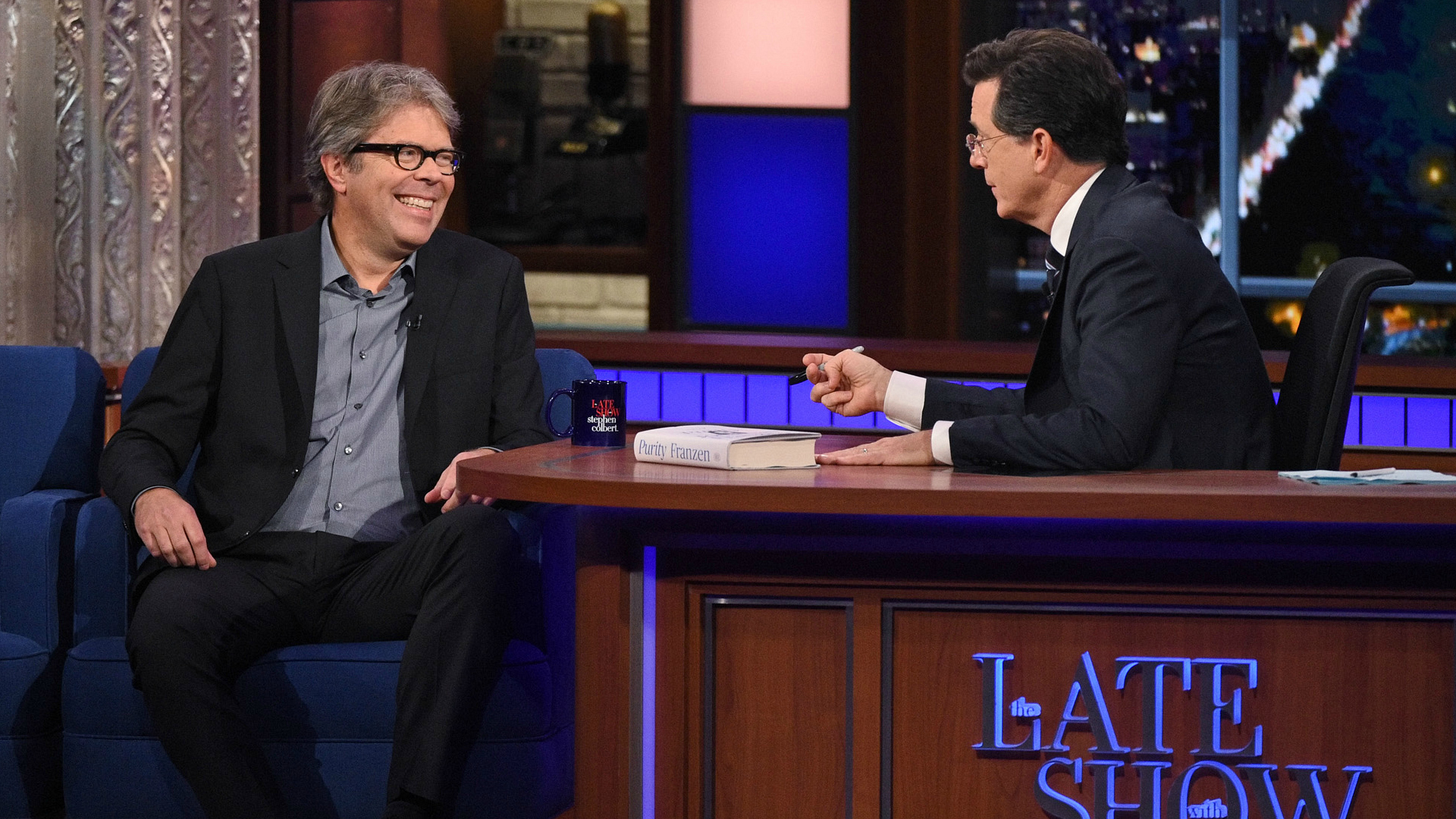 Jonathan Franzen and Stephen Colbert