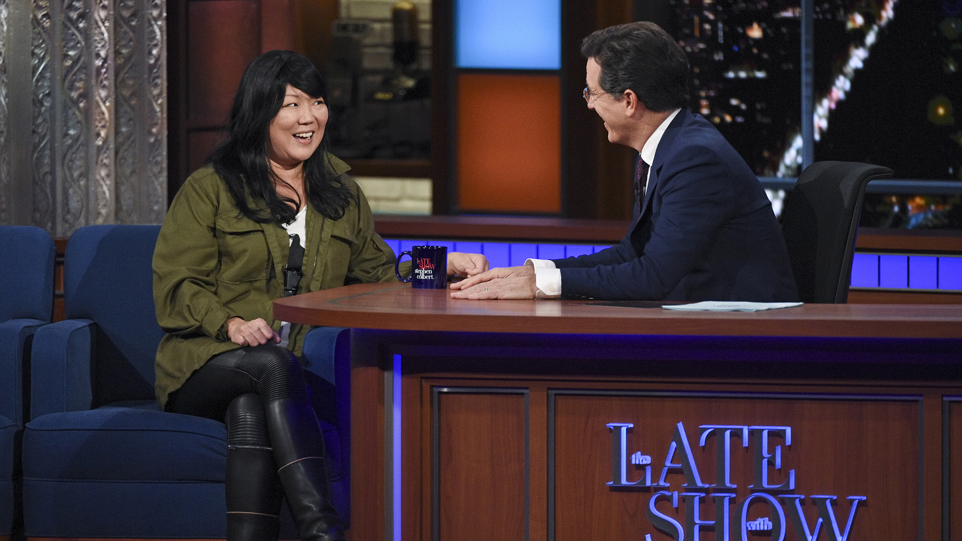 Margaret Cho and Stephen Colbert