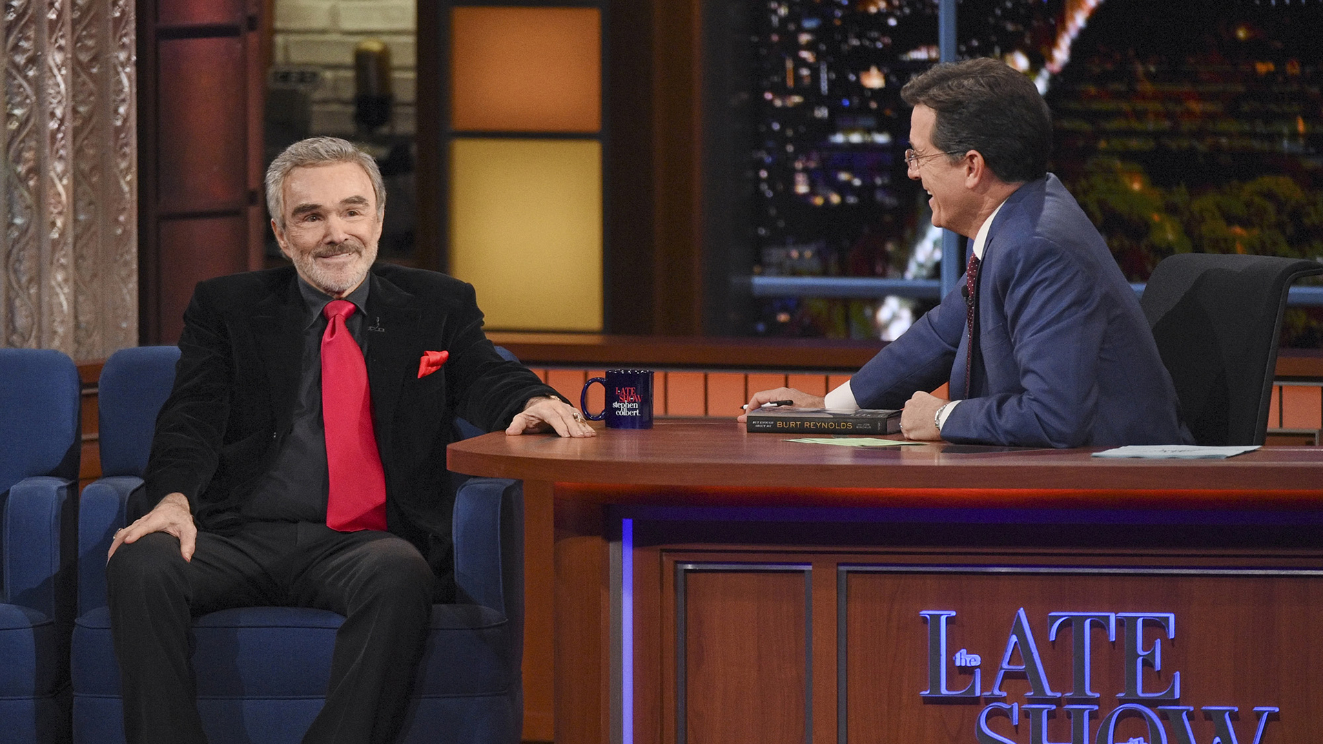 Burt Reynolds and Stephen Colbert