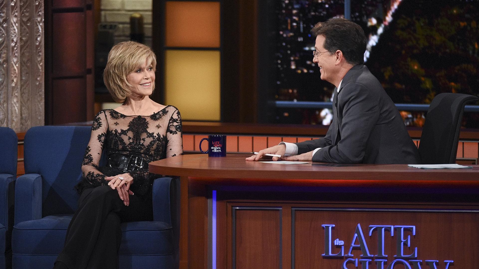 Jane Fonda and Stephen Colbert