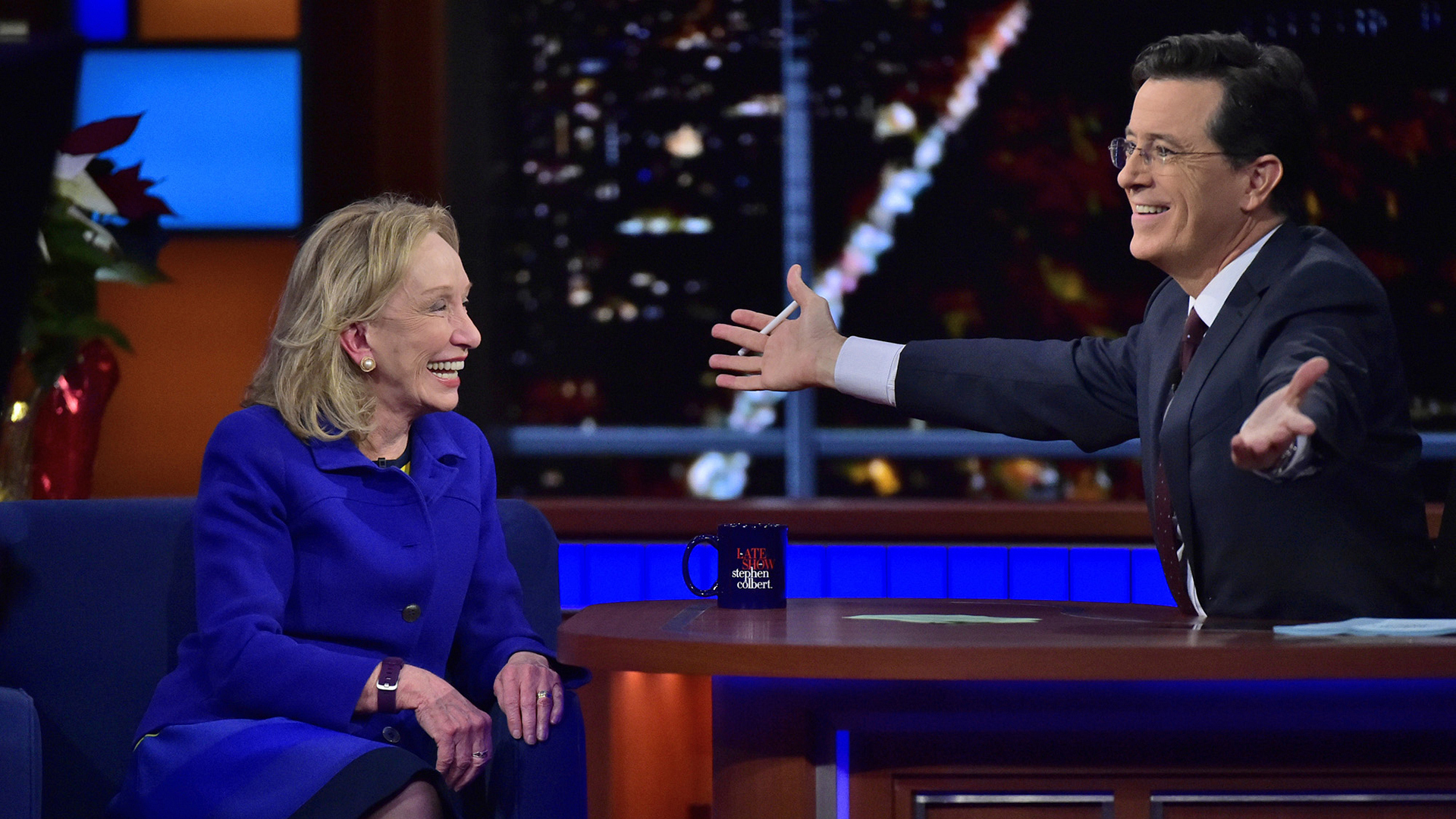 Doris Kearns Goodwin and Stephen Colbert