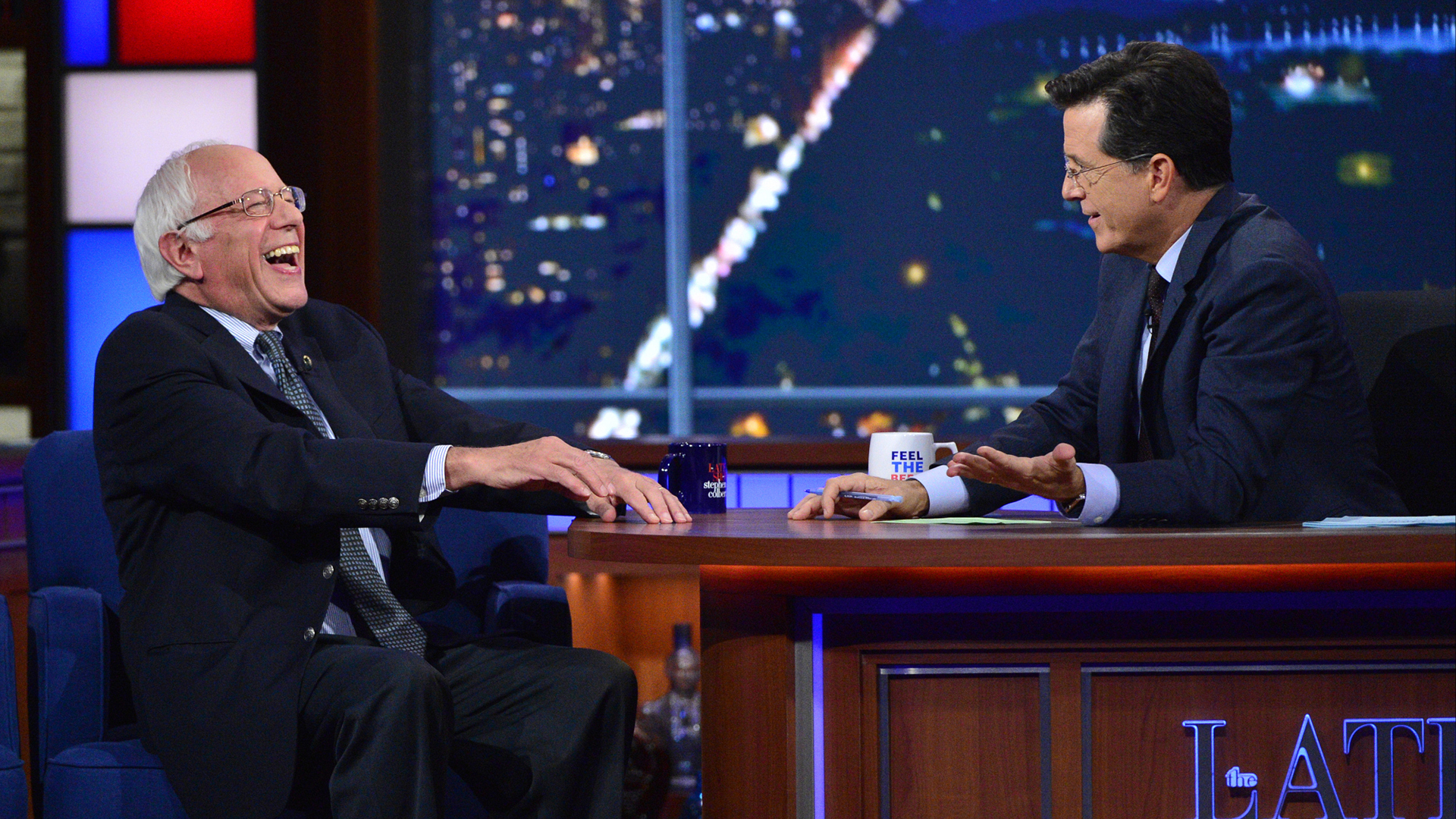 Bernie Sanders and Stephen Colbert