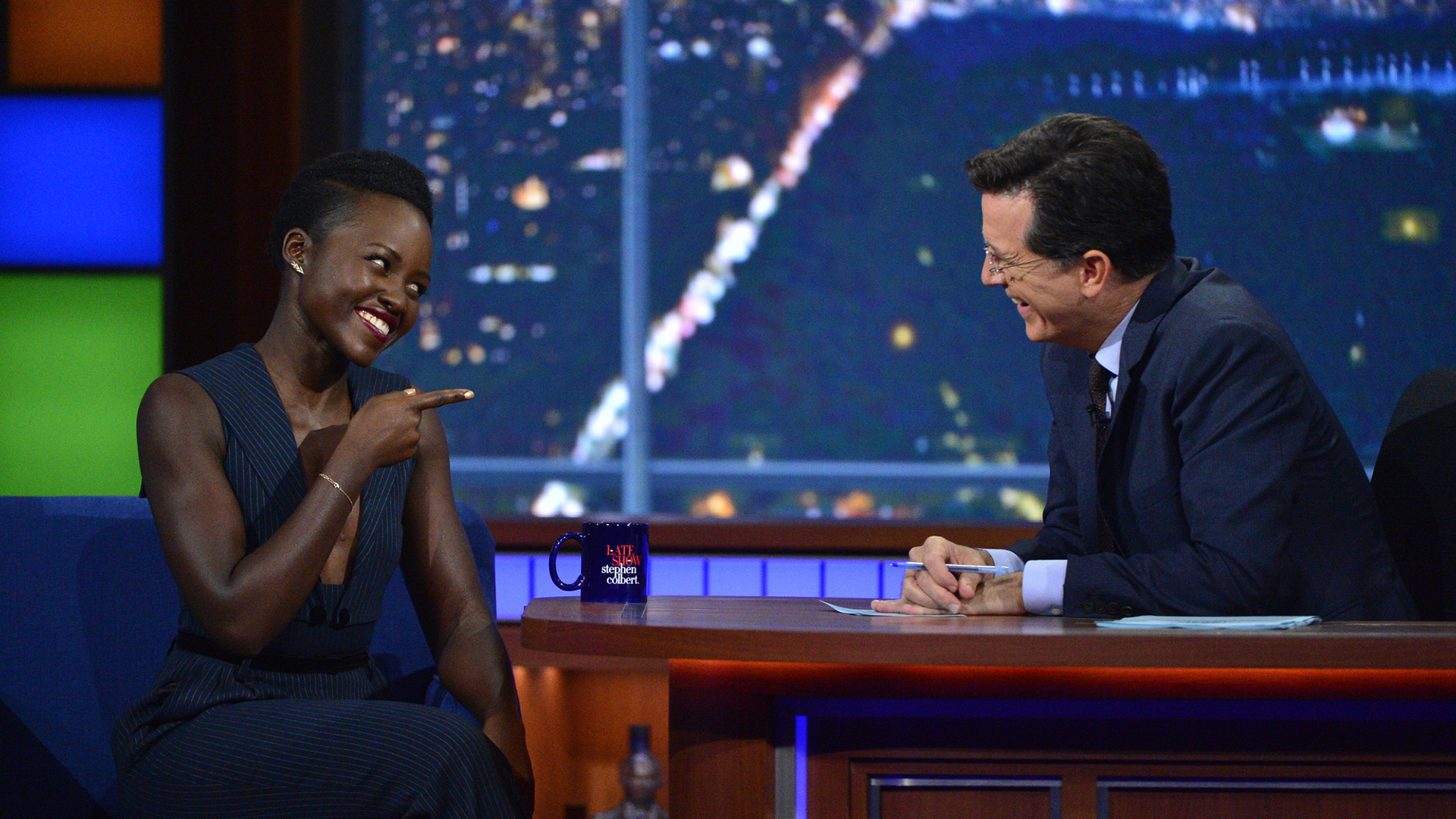 Lupita Nyong'o and Stephen Colbert